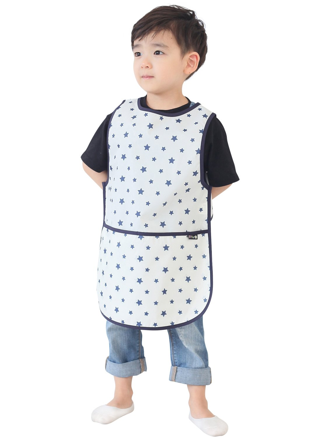 Plie Children Waterproof Sleeveless Art Smock Apron with Pockets, Pink Check (15-M) MIN01-15-M