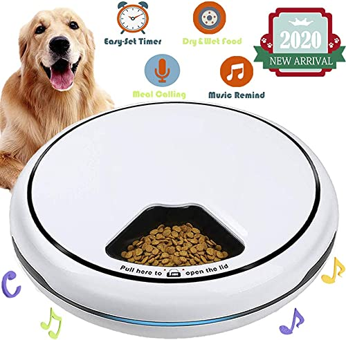 Automatic Pet Feeder Food Dispenser for Dogs, Cats Small Animals Features Distribution Alarms, Portion Control Voice Recording Timer Programmable Up to 4 Meals a Day