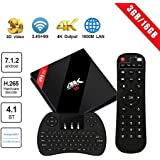 [Powerful Android TV Box] H96 Pro Plus Android 7.1 TV Box 3G RAM + 16G ROM Amlogic S912 Octa Core Smart Box Dual WiFi 2.4G/5.8GHz Bluetooth 4.1 with Wireless Keyboard