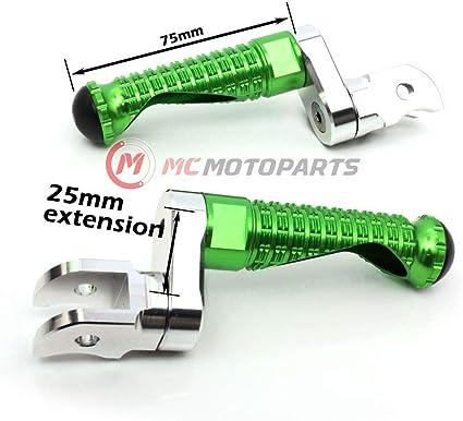 MC Motoparts MPRO Black 25mm Extended Front CNC Footpegs For Kawasaki Ninja 300R 13-17 Z125 16-18 Z250 13-15