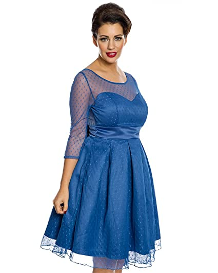 Lindy Bop Serephina Royal Blue Polka Dot Prom Dress - 8