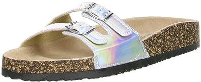 Sheila Cherada Damen Pantoletten Metalloptik Silber, Größe:41;Farbe:Silber