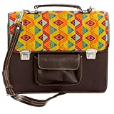 NOVICA Brown Leather and 100% Cotton Laptop Bag, 'Textile Tradition'
