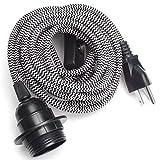 KINGSO E26/ E27 Solid Industrial Lamp Socket Vintage Edison Hanging Textile Pendant Light Cord Kit With Switch(Zebra Pattern)