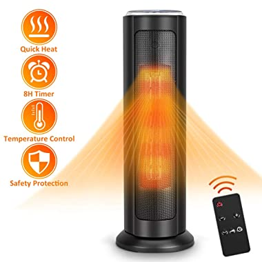 Air Choice Tower Ceramic Heater 1500W with Digital Remote, Portable Oscillating Overheating & Tip-Over Protection, Adjustable Thermostat, 8H Timer, ETL Safety Home Office, 24-inch, Black