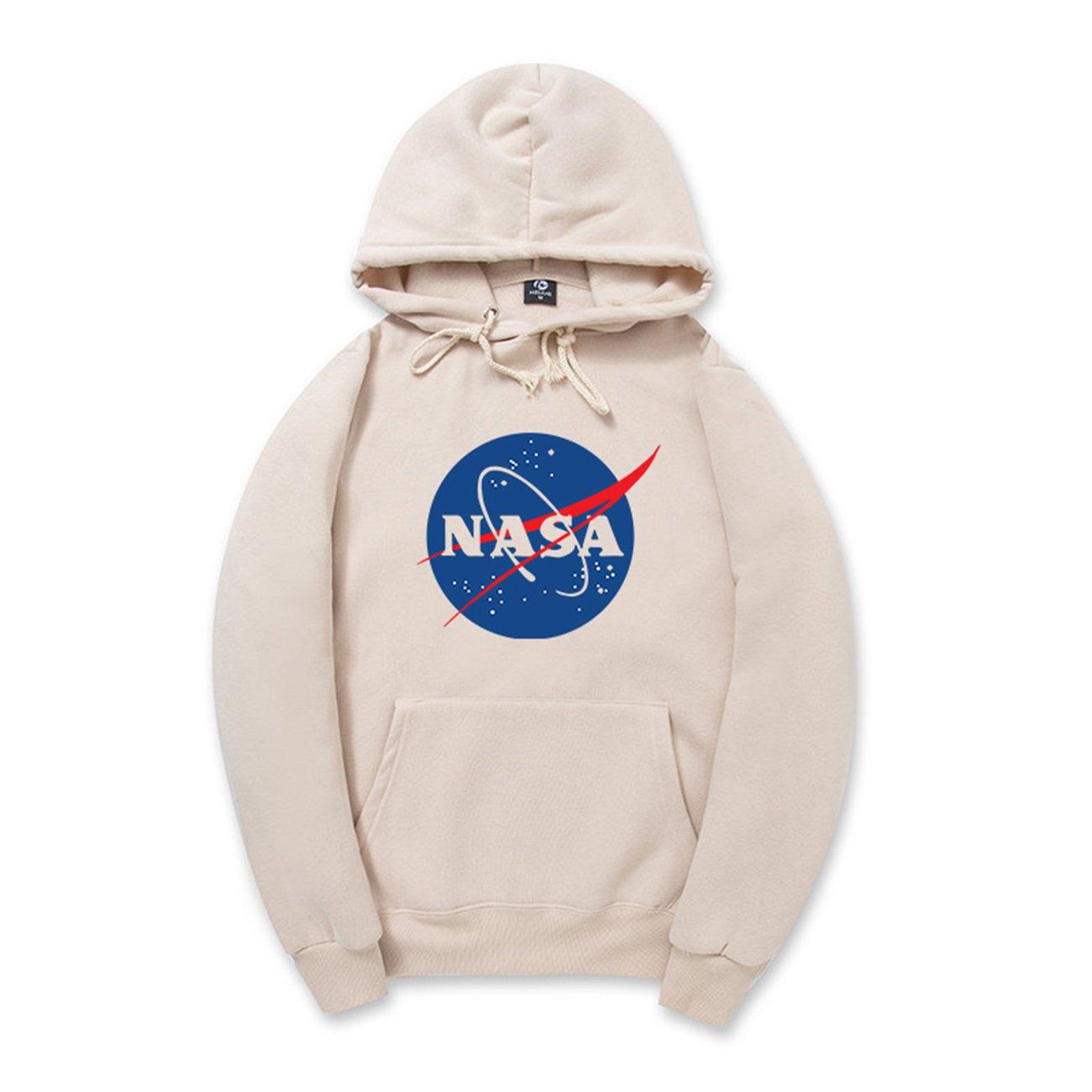 2_apricot Coli&Tori Fashion NASA Logo Print Hoodie Sweatshirt with Kangaroo Pocket(Smaller Than Standard Size)