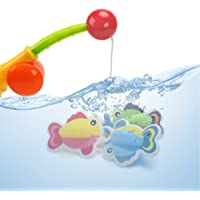 Toddler Bath Toys Fishing Game- Floating Fish Toy 4pcs Bath Tub Toys Best Bathtime Gift for Toddlers by Hanmun,3 count(Color Vary)