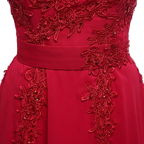 Rjer Evening Bridesmaid Appliques Formal Length Floor Chiffon Gowns Burgundy Women's Strapless rAxq87r