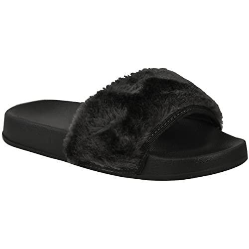 65bf83d8c Fashion Thirsty Womens Flat Comfy Faux Fur Trim Rubber Sliders Flip Flops  Mules Size 5 Black