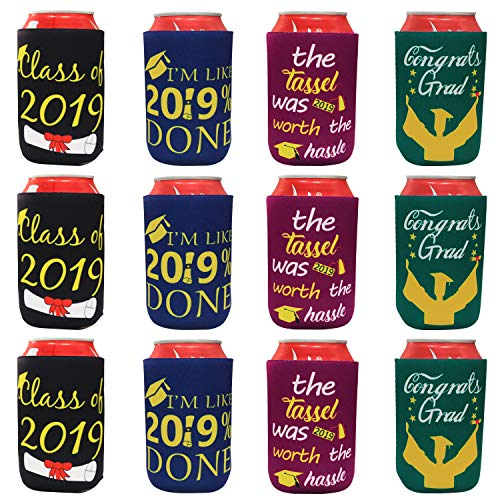 Tifeson 12-Pack Graduation Can Cooler Sleeves - Class of 2019 Funny Neoprene Beer Can Covers for Soda, Can Beverage -Graduation Party Decoration -