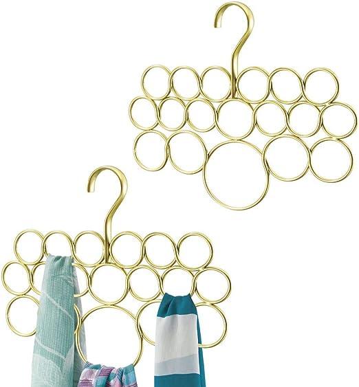 mDesign Juego de 2 perchas para pañuelos o corbatas – Organizador ...