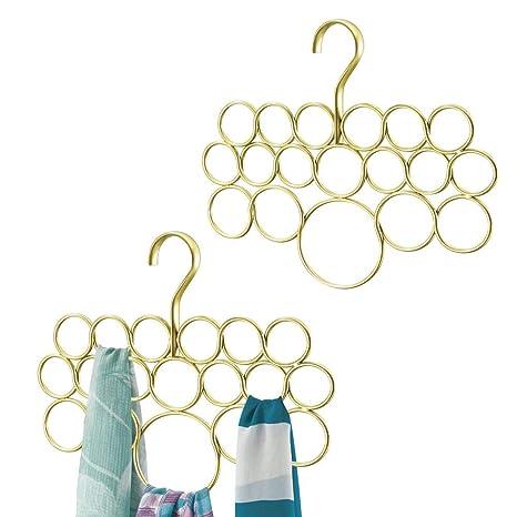 mDesign Juego de 2 perchas para pañuelos o corbatas – Organizador de pañuelos con 18 aros para organizar – Organizador de armarios para colgar ...