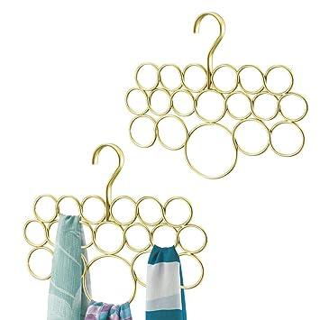 mDesign Juego de 2 perchas para pañuelos o corbatas – Organizador de pañuelos con 18 aros