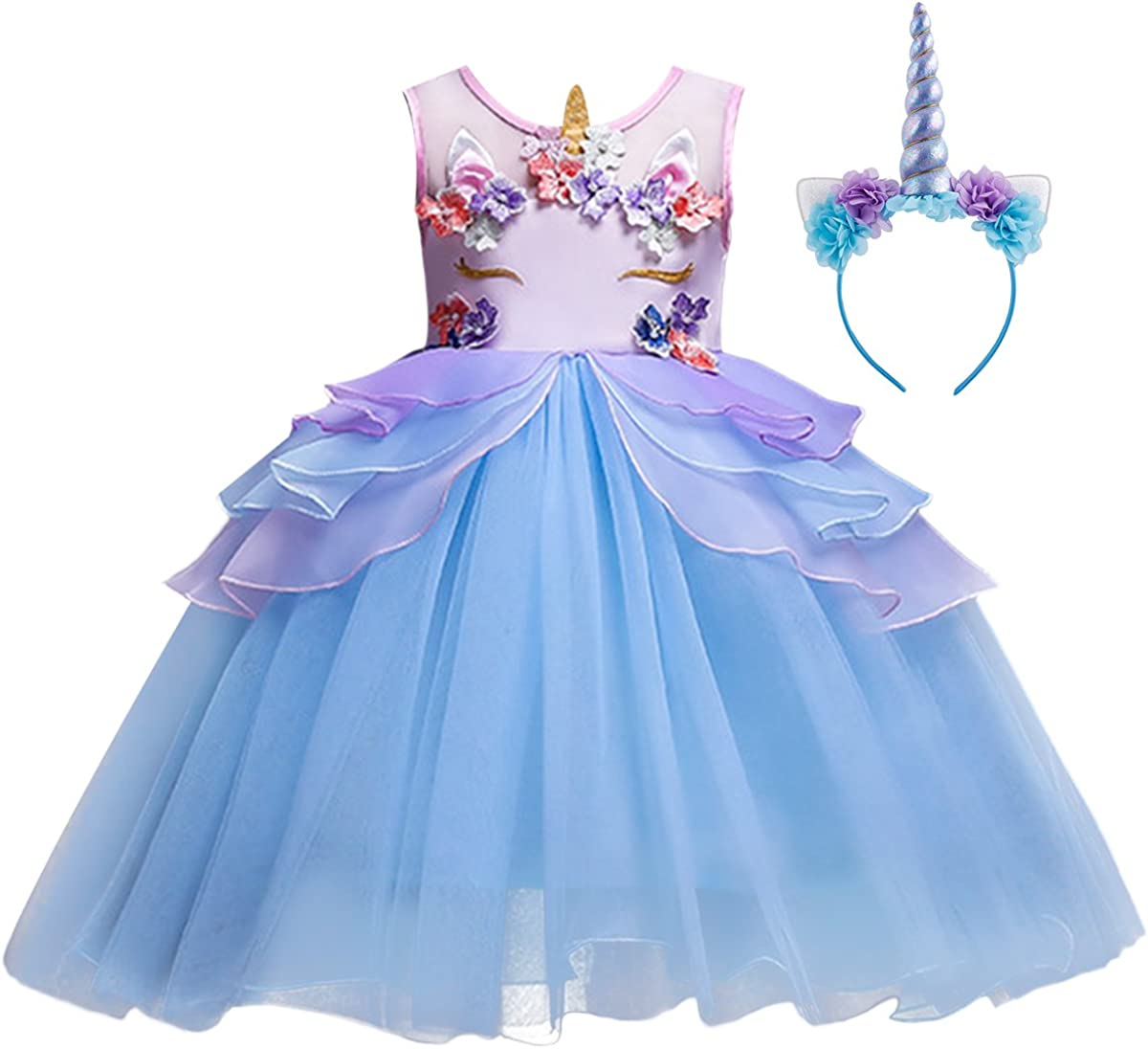 con fascia per compleanno Halloween e festival Costume da principessa con unicorno et/à 3-10 anni