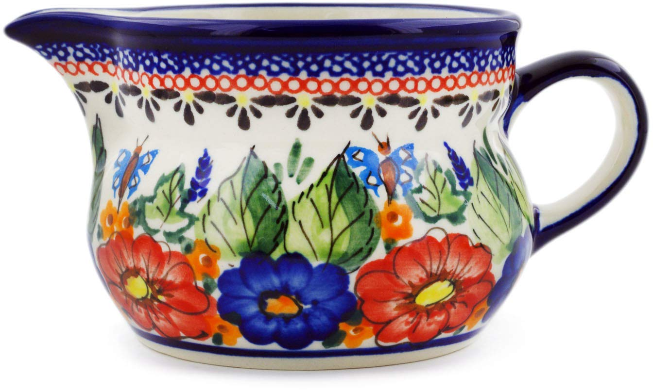 Polish Pottery 12 oz Creamer (Spring Splendor Theme) Signature UNIKAT + Certificate of Authenticity