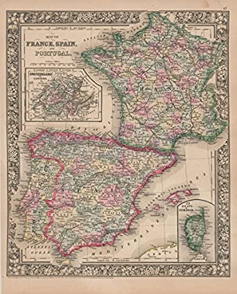 Map Of Southern France And Spain.Amazon Com France Spain Vintage Map Mitchell 1864 Authentic French