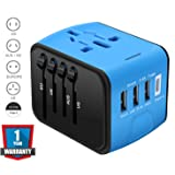 Universal Travel Adapter, RUOBAI Travel Converter, All in One Travel Charger Plug with 3 USB & 1 Type-C 3.4A, International Power Adapter for US, UK, EU, AU, Over 200 Countries and Support Simultaneously Charge 5 Devices-Blue&Black