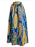 Afibi Women African Printed Casual Maxi Skirt Flared Skirt Multisize A Line Skirt (Large, Pattern 1)