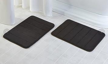 2 Pack   16u0026quot;x 24u0026quot; Microfiber Memory Foam Bath Mat With Anti