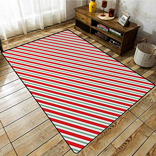 Large Area mat,Candy Cane Bicolor Stripes and Lines Festive Traditional Design Seasonal Pattern,Large Area mat,5'6