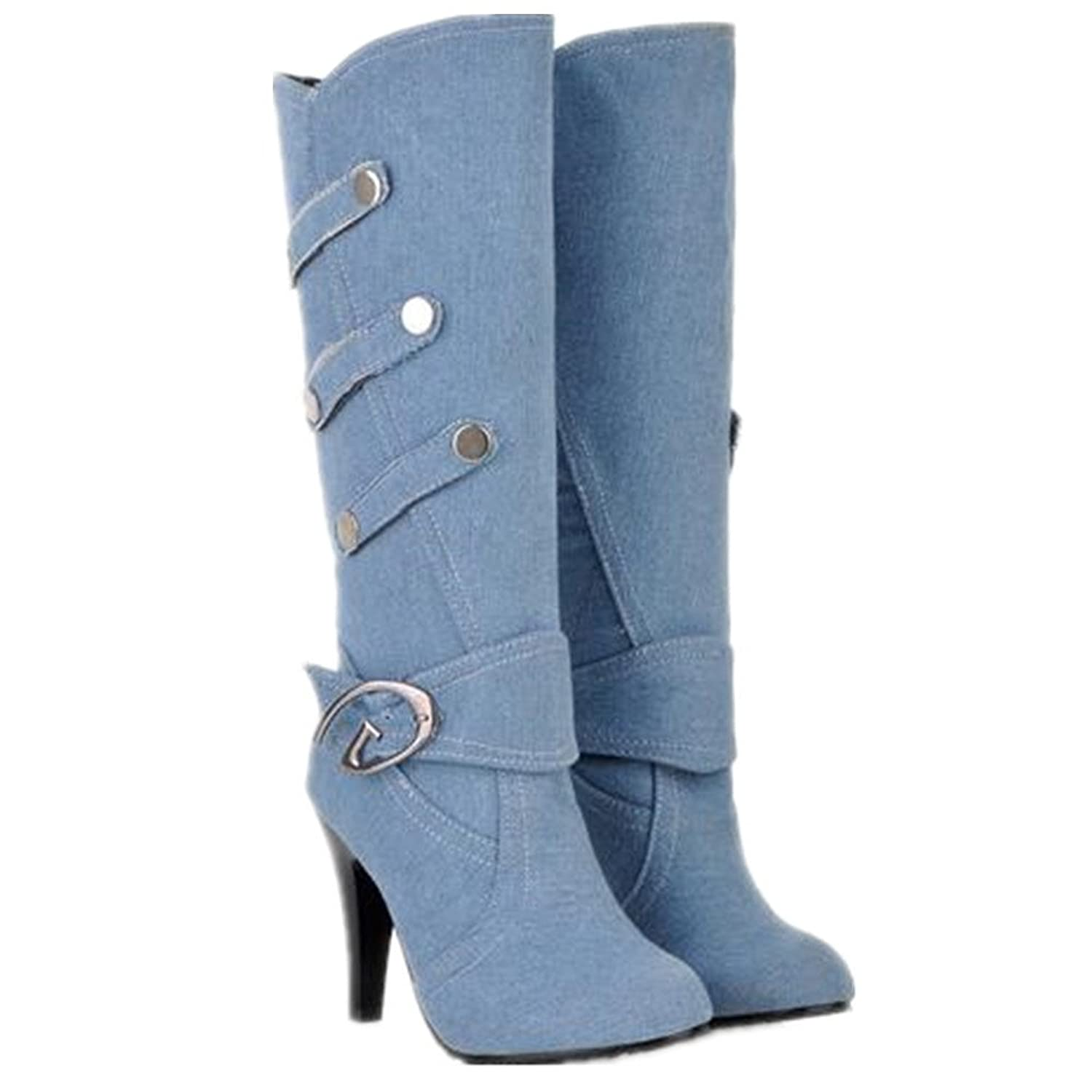 3 Colors Women's Winter Denim Motorcycle Thin High Heel Long Metal Buckle Warm Man made Short Plush Lining Knee High Martin Jeans Boots