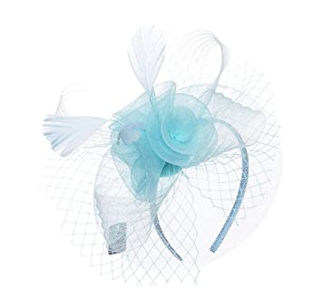 Sky Blue Net Feather Fascinator  Amazon.co.uk  Beauty 1a131b6afc5