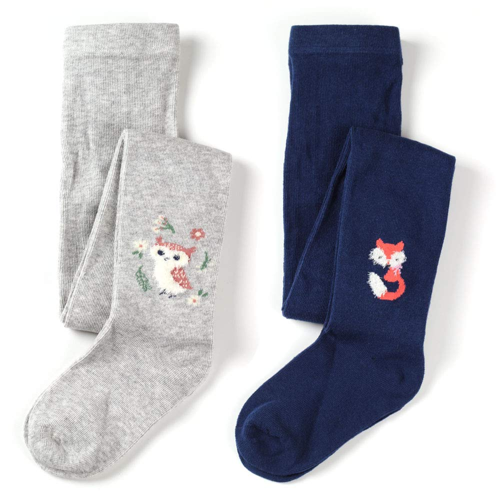 Kids Girls Cotton Rich Fun Fashion Tight with lovely Dogs and Spots Pattern 2 Pair Pack (Fox & Owl, 1-2 Years)