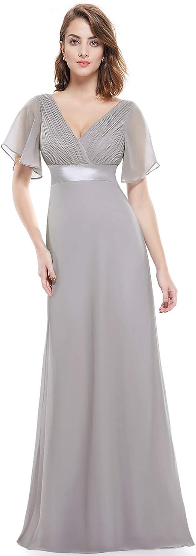 1930s Evening Dresses | Old Hollywood Silver Screen Dresses Ever-Pretty Womens Short Sleeve V-Neck Long Evening Dress 09890 $54.99 AT vintagedancer.com