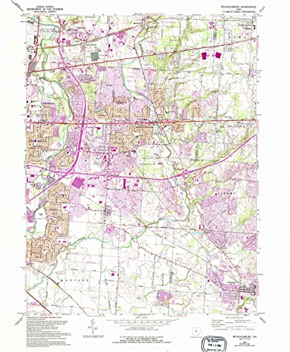 YellowMaps Reynoldsburg OH topo map, 1:24000 scale, 7.5 X 7.5 Minute, Historical, 1964, updated 1995, 26.7 x 21.9 IN - Tyvek (Walnut Mott)