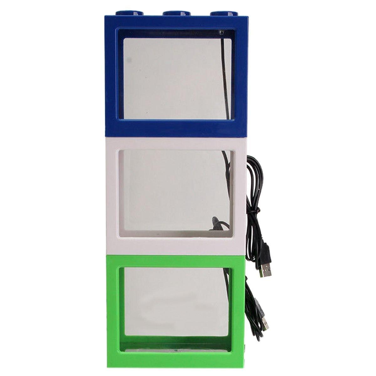 Blanco SODIAL Pecera clara de iluminacion LED USB mini Acuario de ornamento Decoracion de escritorio de oficina