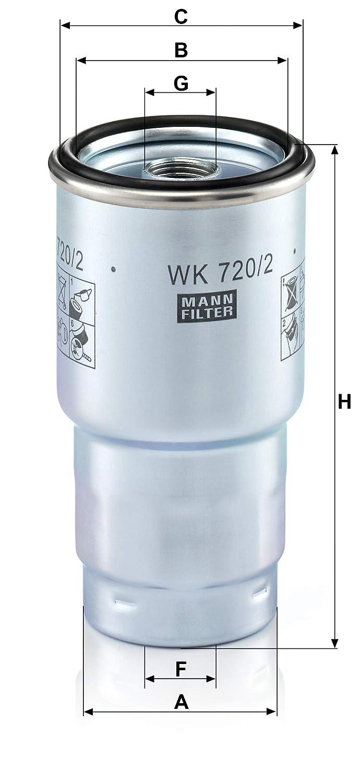 MANN-FILTER WK 720/2 x Set de Filtro de Combustible Juego de Juntas – para automóviles, Amarillo, 36