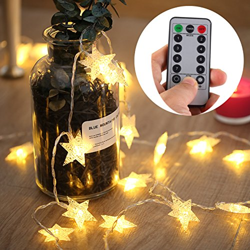Light Strands Decorative ([UPGRADED VERSION] 16 Feet 50 LED Christmas Star LED String Lights with Remote & Timer Battery Operated Fairy String Lights for Indoor & Outdoor Garden, Wedding Decoration (Warm White))