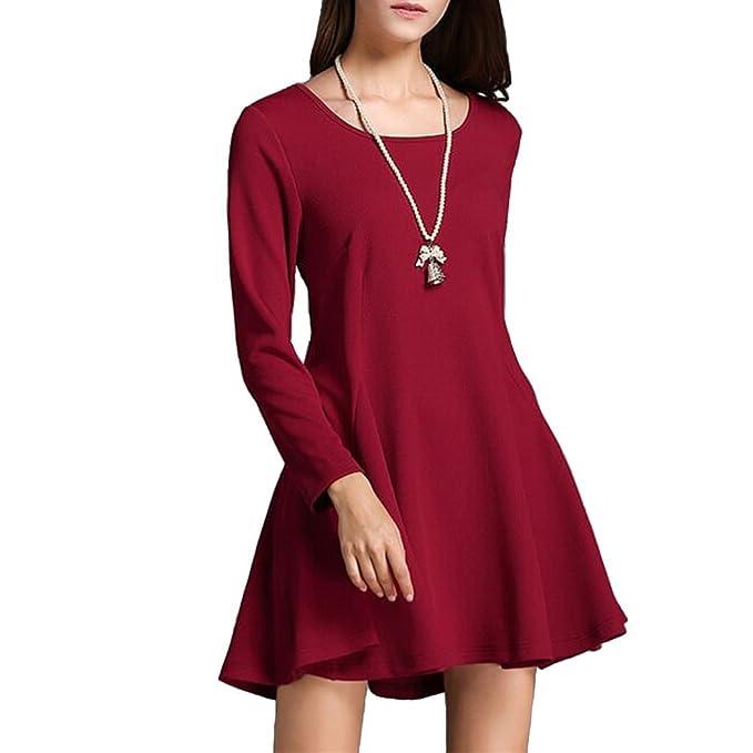 Dehutin Color Sólido Vestido Largo Una Palabra Falda Tejido De Punto Manga Larga Algodón Vestidos Para