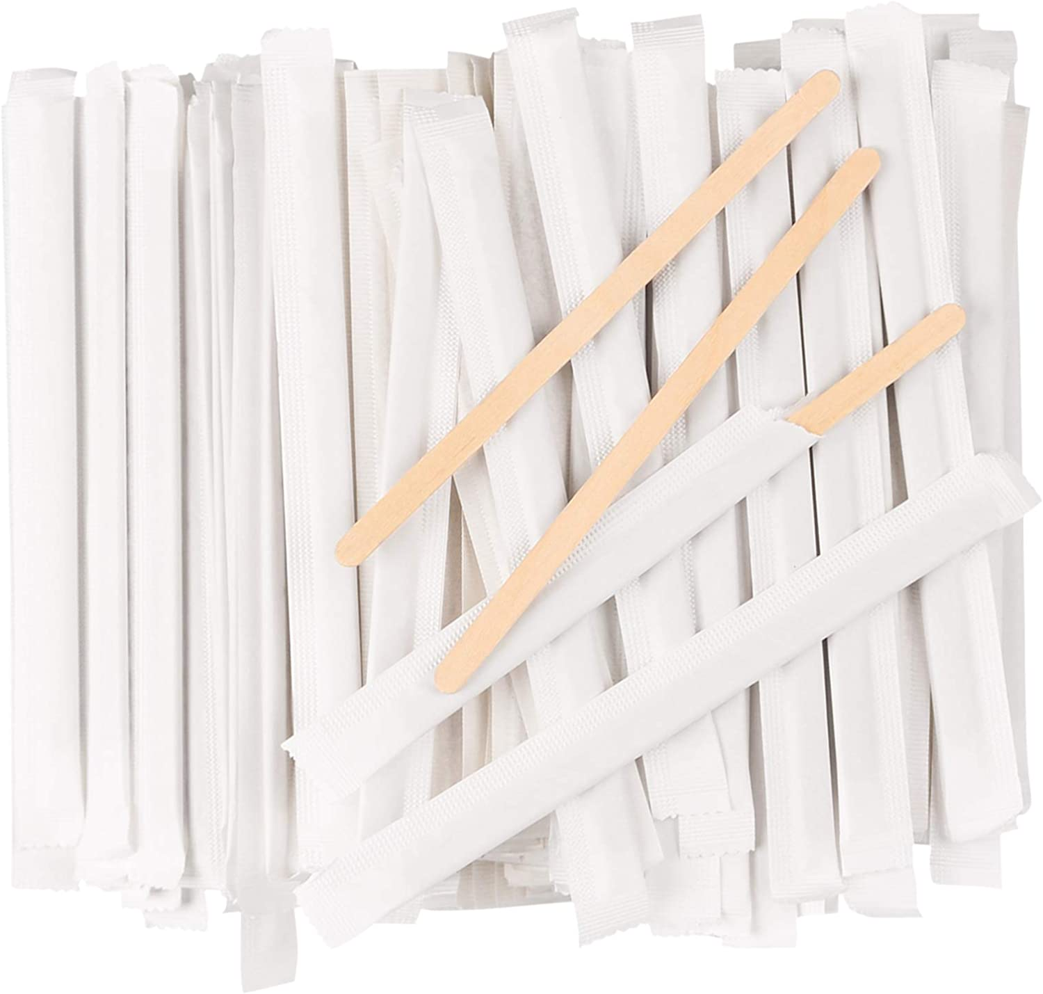 Disposable Wood Paper 5.5 Inch 1000 Pcs Wrapped Coffee Stirrers, Individually Wrapped Coffee Stirrers, Wrapped Stir Sticks Coffee Sticks for Coffee, Tea, and Craft Projects