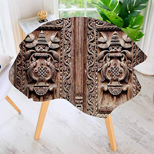 """YCHY Easy-Care Cloth Premium Tablecloth Round-Carved Door Detail Hinduism Kathmandu Artful Sculpture Cultural cade Great for Buffet Table, Parties, Holiday Dinner & More 71"""" Round"""