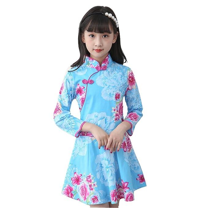 241ed0589 Amazon.com: WINZIK Little Baby Girls Kids Outfits China Style Floral  Pattern Long Sleeve Slim Cheongsam Chinese Qipao Mini Princess Dress:  Clothing