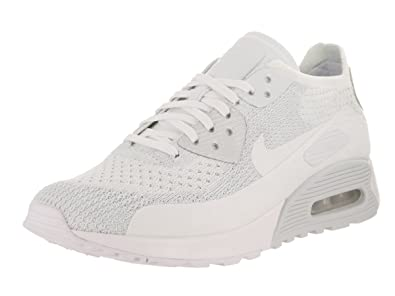 Nike W AIR MAX 90 Ultra 2.0 Flyknit Womens Running Shoes 881109 104_9.5 WhiteWhite Pure Platinum