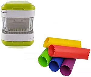 Angel's peel lounge Garlic chopper with one free peeler Mincer, and Storage Container Vegetable Quick Chopper Manual Food Processor, Easy To Clean(Get free peeler with chopper)