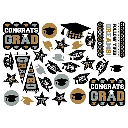 Amscan Grad Printed Cutout in Black, Silver and Gold Graduation Theme Party Decoration, Paper, 14