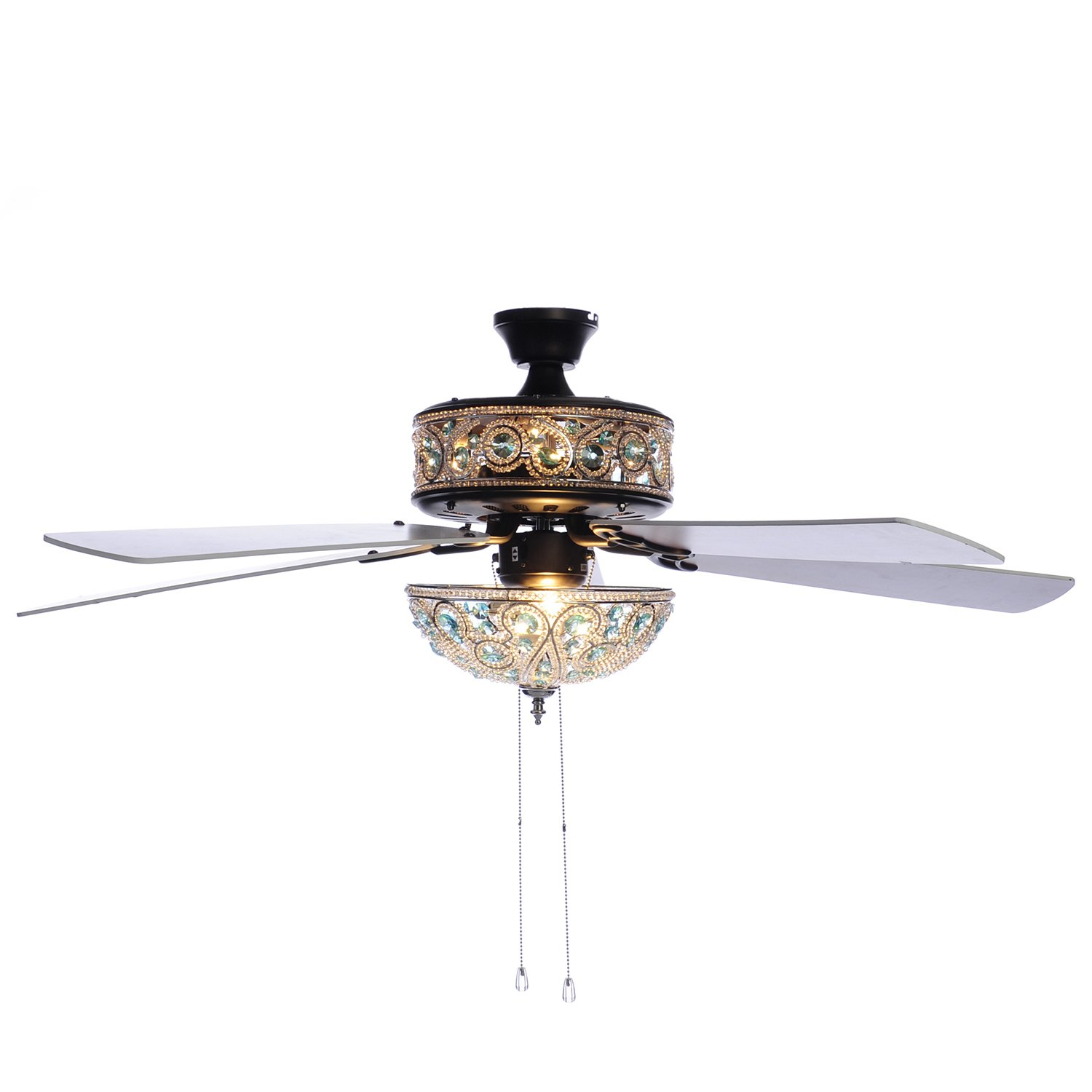 50'' Chandelier Crystal Ceiling Fan with Remote Control - Turquoise by River of Goods