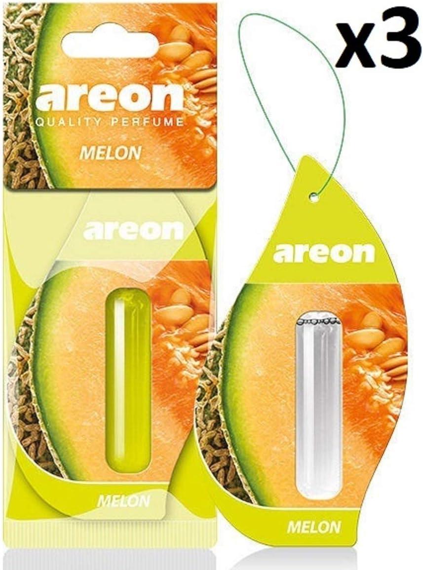 AREON Liquido Ambientador Coche Melón Olor Fruit Casa Perfume Mini Colgar Colgante Verde Retrovisor Oficina 3D 5ml (Melon Pack de 3): Amazon.es: Coche y moto