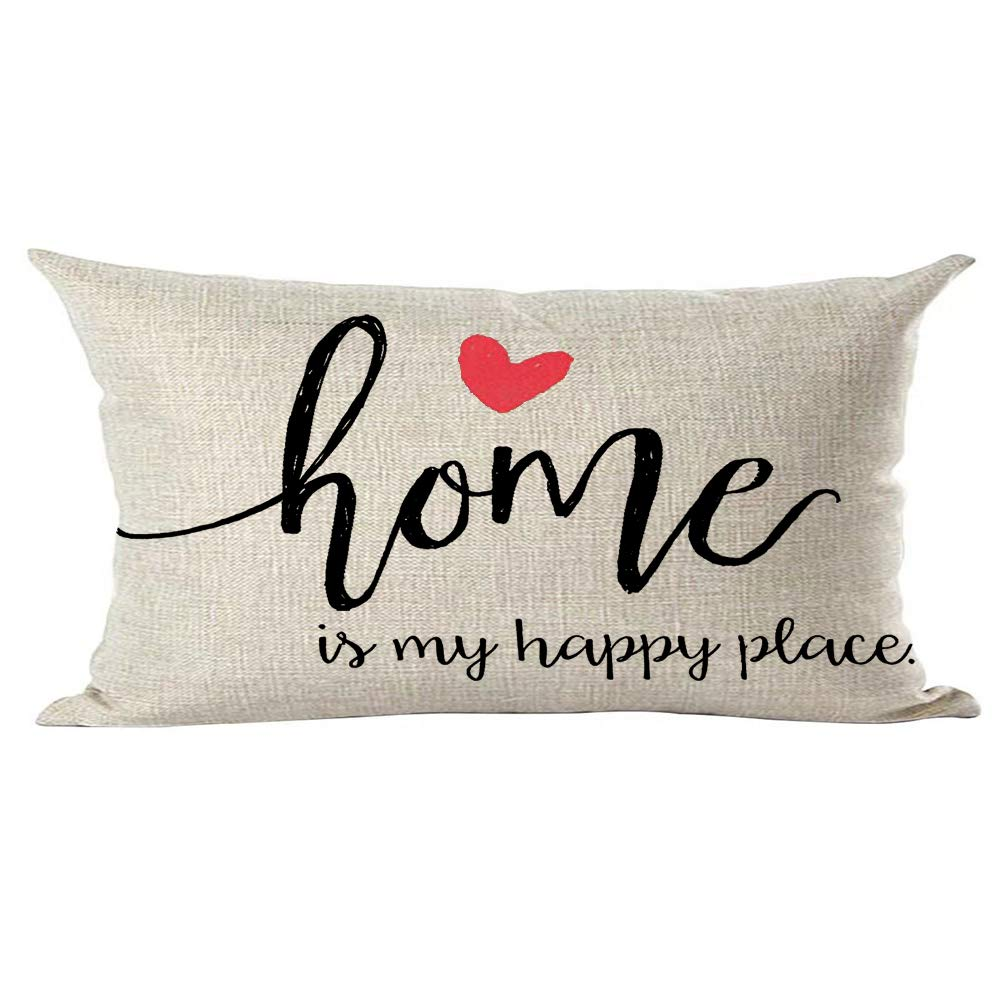 ramirar Black Word Art Quote Home is My Happy Place Pink Love Inspirational Decorative Lumbar Throw Pillow Cover Case Cushion Home Living Room Bed Sofa Car Cotton Linen Rectangular 12 x 20 Inches