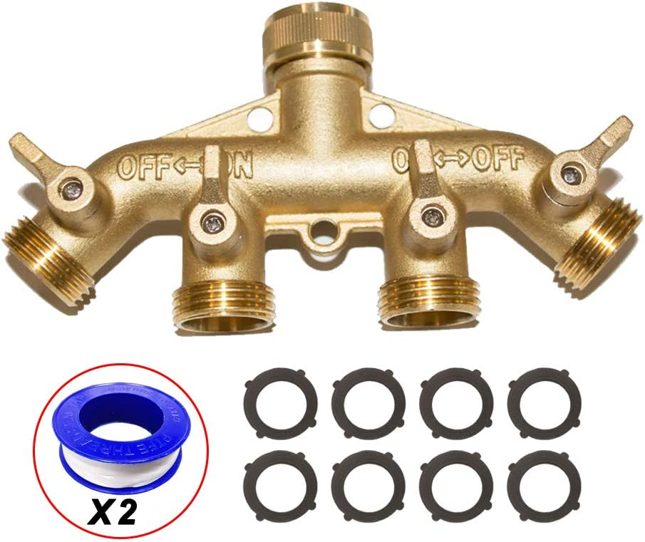 "HQMPC 4 Way Hose Splitter 3/4"" GHT Garden Hose Splitter 4 Way Solid Brass Hose Connector Heavy Duty Hose Spigot Adapter With 4 Valves 8 Gaskets +2 Seal Tapes"