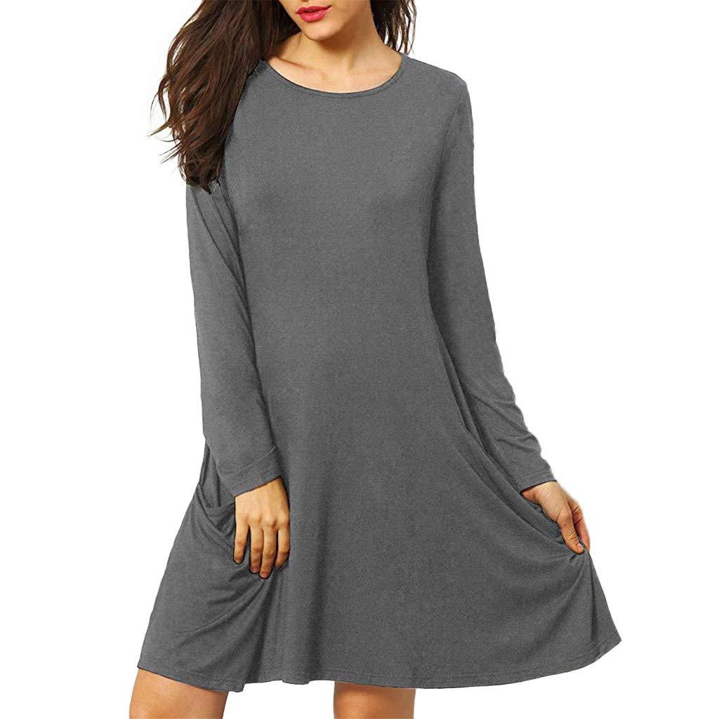 LEXUPA Womens Casual Pockets Plain Flowy Simple Swing T-Shirt Loose Tunic Dress
