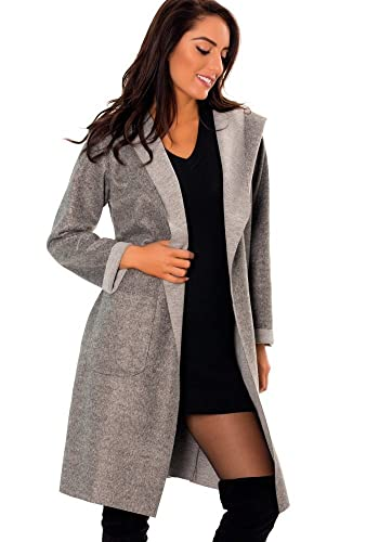 dmarkevous – Abrigo – Gabardina – Básico – para mujer gris Talla única