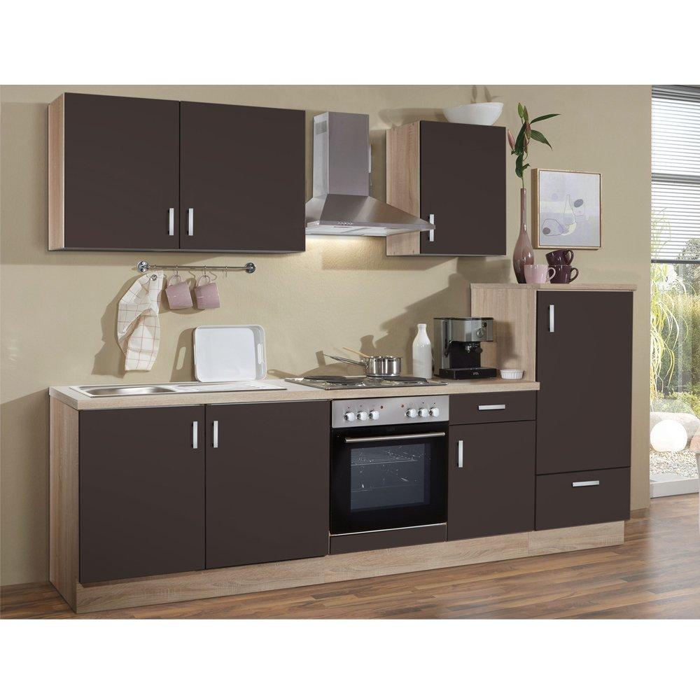 Litra R Küche Lava matt / Eiche sonoma 270 x 60 cm inkl. Edelstahlherd, Kühlschrank, Dunstesse und Spüle fertig montiert
