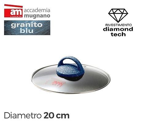 Tapa vidrio 20cm para ollas cacerolas y sartenes - Accademia Mugnano GRANITO BLU