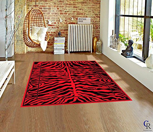 (Modern Animal Print Skin Red Area Rug Zebra Safari Bordered African Carpet (5' 3
