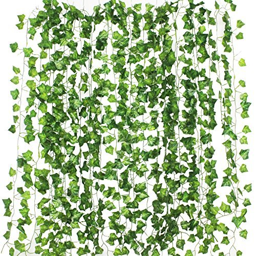 12 Pack (Each 82 inch) Artificial Greenery Fake Hanging Vine Plants Leaf Garland Hanging for Wedding Party Garden Outdoor Greenery Office Wall Decoration - Vine Wall