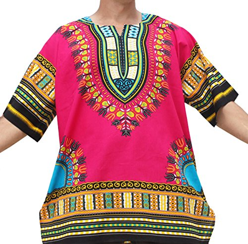 Raan Pah Muang RaanPahMuang Brand Unisex Bright Colour Cotton Africa Dashiki Shirt Plain Front, Small, Magenta - Color Shirt Magenta